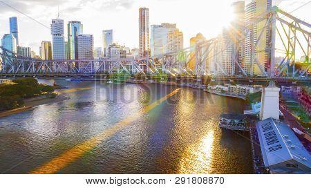 Brisbane, Australia - February 22 2019: Sunset Rays Through Brisbane Cityscape, Elevated View With T