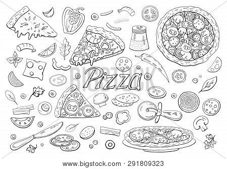 Big Italian Pizza And Pizza Ingredients Isolated On White Background.