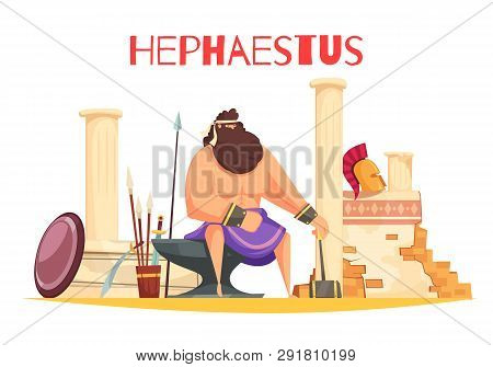 Greek Gods Cartoon Composition With  Powerful Figurine Of Hephaestus Sitting On Anvil And Holding Ha