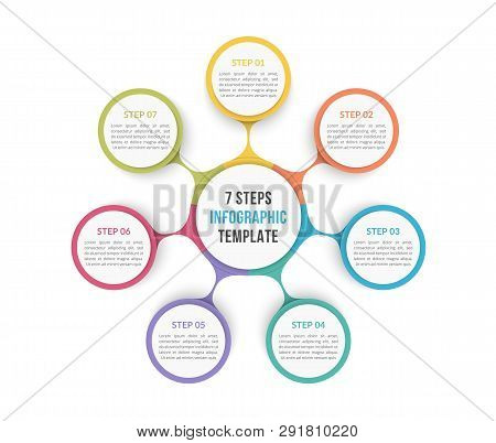 Circle Diagram Template With Seven Steps Or Options, Process Chart, Vector Eps10 Illustration