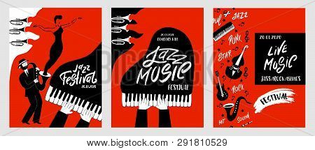 Jazz Music Festival Posters With Musical Instruments (piano, Pipe, Guitar, Cello, Saxophone, Microph