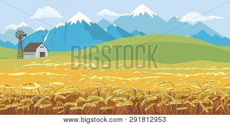 Rural Farm Landscape, Dawn Above Hills With Wheat Field And Snowy Peak Mountains Background. Vector