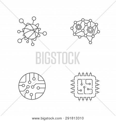 Iot Ai Big Data Microchip Vector Icon Set. Internet Of Things Artificial Intelligence Data Micro Cir