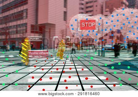 Autonomous Driving Concept Showing Lidar, Radar And Camera Sensor Signal System, Self-driving