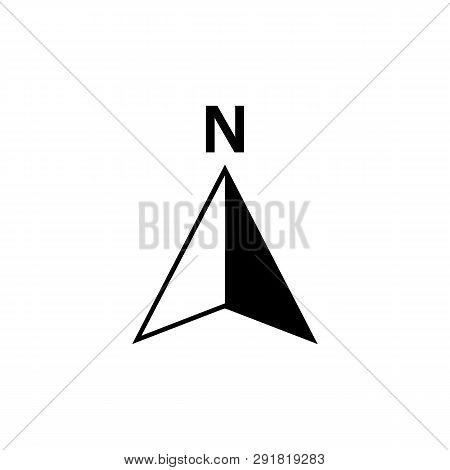 North Arrow Icon Or N Direction And Navigation Point Symbol. Vector Logo For Gps Navigator Map