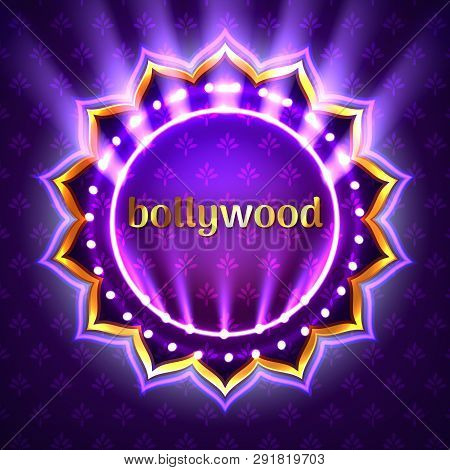 Vector Illustration Of Indian Bollywood Cinema Sign Board, Neon Illuminated Banner With Golden Logo