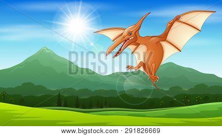Illustration Of Pterodactyl Flying Under The Sun