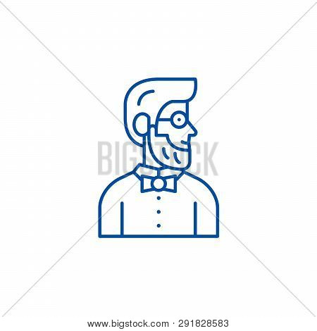 Stylist Line Icon Concept. Stylist Flat  Vector Symbol, Sign, Outline Illustration.