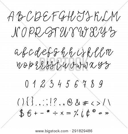 Handwritten Calligraphy Font. Vector Alphabet. Hand Drawn Letters. Script Font. Isolated Letters And