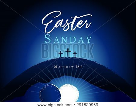 Easter Sunday Holy Week, Three Cross On Hill Banner. Hi Is Risen, Christian Motive, Vector Invitatio
