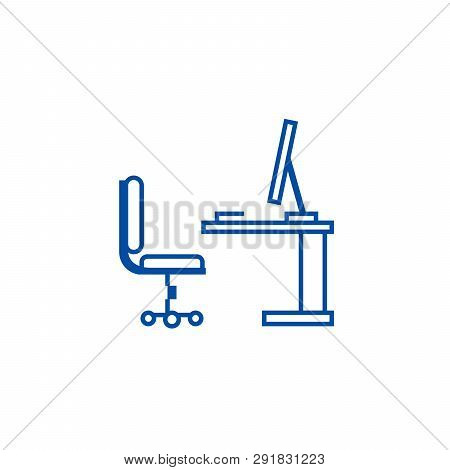 Table, Office Desk With Computer Sideview Line Icon Concept. Table, Office Desk With Computer Sidevi