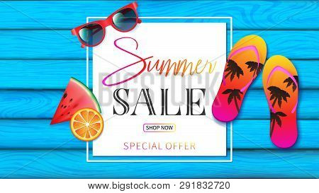 Summer Banner With Light Blue Planks Wood Decorated By Summer Elements Such As Red Sunglasses, Color