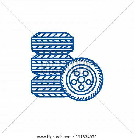 Tires, Tire Service Line Icon Concept. Tires, Tire Service Flat  Vector Symbol, Sign, Outline Illust