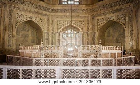 Taj Mahal, Agra, January 2019: Interior Octagonal Chambers Of Taj Mahal, Made Of Pure White Marble W