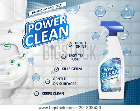 Bathroom Cleaners Ad Poster, Spray Bottle Mockup With Detergent For Bathroom Sink And Toilet With Bu