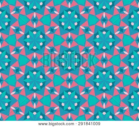 Kaleidoscope Seamless Pattern In Emerald, Green And Red. Perfect For Gift Paper, Textile, Wallpaper,