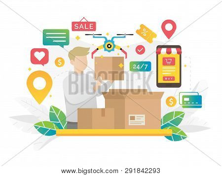 Online Shopping Concept Illustration. Online Shopping E Commerce 24 Hours Customer Support Service.