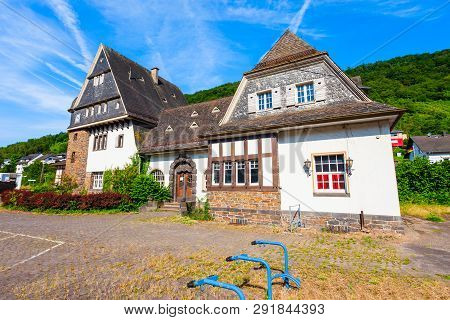 Moselkern Railway Station Near The Eltz Castle. Burg Eltz Is A Medieval Castle In The Hills Above Th