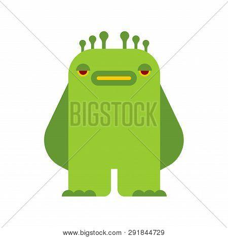 Little Green Monster Isolated. Beast Vector Illustration