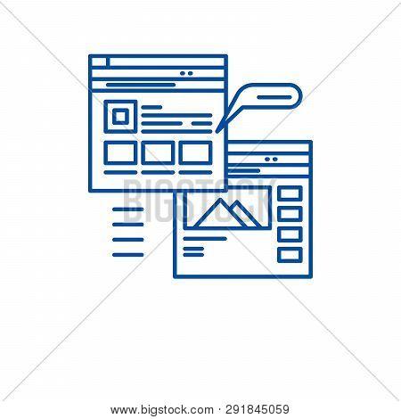 Webpage Blogging Line Icon Concept. Webpage Blogging Flat  Vector Symbol, Sign, Outline Illustration