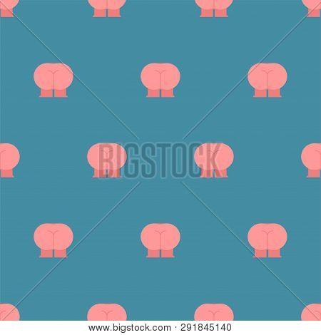 Ass Pattern Seamless. Ass With Legs. Vector Background