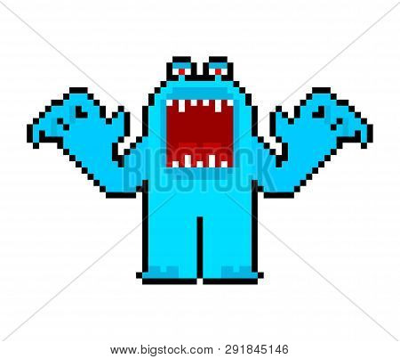 Angry Cartoon Monster Pixel Art With Open Mouth. Vector 8 Bit