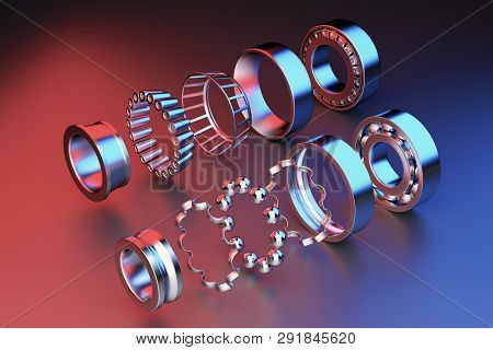 3d Rendering. Automotive Bearings Auto Spare Parts. Ball Bearing On A Dark Background. Wheel Bearing