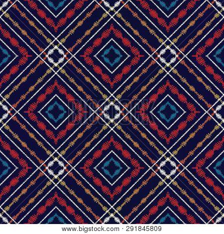 Tapestry Tartan Seamless Pattern. Vector Geometric Checked Backg