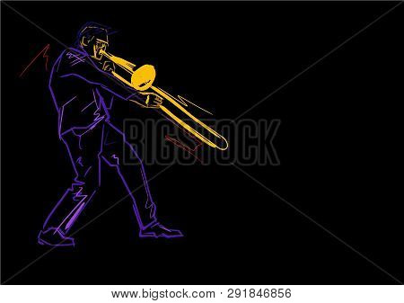 Trombonist On Stage. Neon Colors. Colorful Lines On Black Background. Musical Vector Illustration. H
