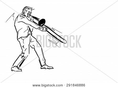 Trombonist On Stage. Hand Drawn Trombone Player. Black Lines On White Background. Musical Vector Dra