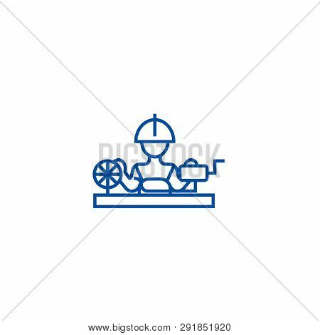 Worker Industry Line Icon Concept. Worker Industry Flat  Vector Symbol, Sign, Outline Illustration.
