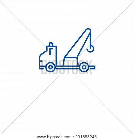 Wrecker Truck Line Icon Concept. Wrecker Truck Flat  Vector Symbol, Sign, Outline Illustration.