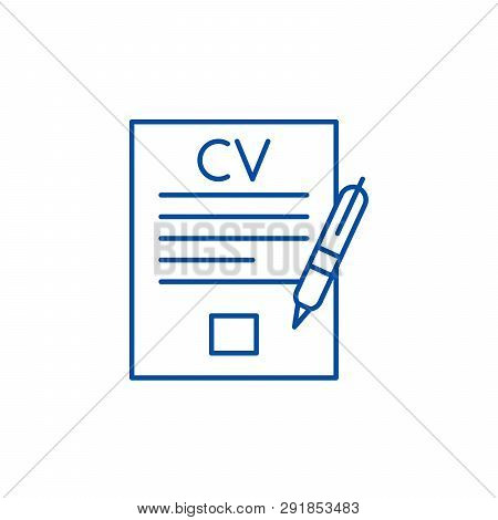 Writing A Resume Line Icon Concept. Writing A Resume Flat  Vector Symbol, Sign, Outline Illustration