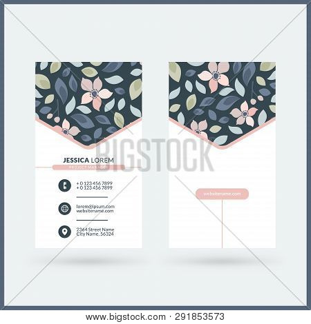 Double-sided Vertical Modern Business Card Template With Cute Floral Background. Vector Mockup Illus