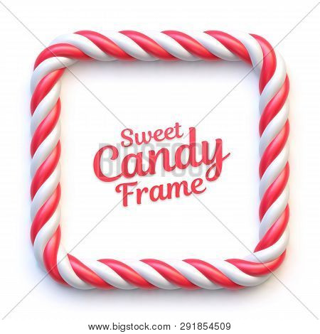 Candy Cane Square Frame On White Background