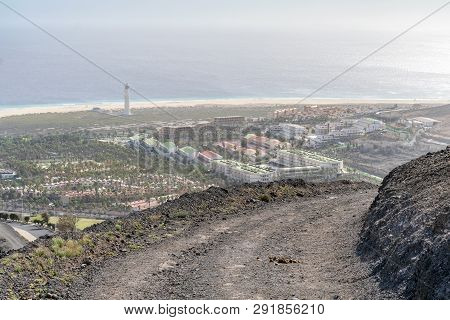 Dirt Path In Volcanic Mountains In Morro Jable, Fuerteventura, Canary Islands, Spain