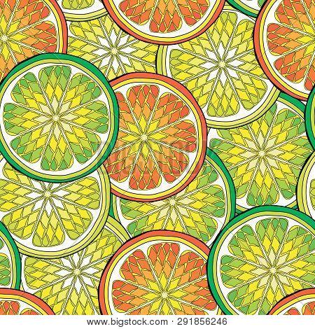Seamless Pattern With Citrus Tropical Fruits. Lemon, Orange, Amanatsu,  Citron, Clementine, Grapefru