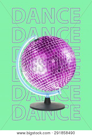 New Dance World Is Opened. Alternative Dancing Earth. Purple Globe As A Sparkling Discoball Spinning