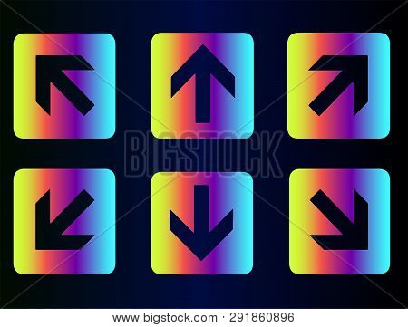 It And Technology, Web Site Design, Vector Buttons Arrows. Vector Flat Buttons, Arrow Icons. Neon Ra