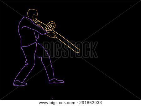 Trombonist. Musical Illustration. Hand Drawn Colorful Contour On Black Background. Trombone Player S