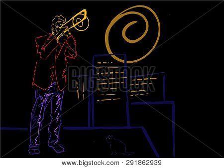 Trombonist Plays On The Roof. Night Jazz Illustration. Neon Colors On Black Background. Trombone Pla