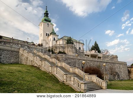 Stairs And Church Of St. Ondrej In Town Ruzomberok, Slovakia