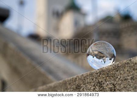 Reflection In Crystal Sphere. Church Of St. Ondrej In Ruzomberok, Slovakia