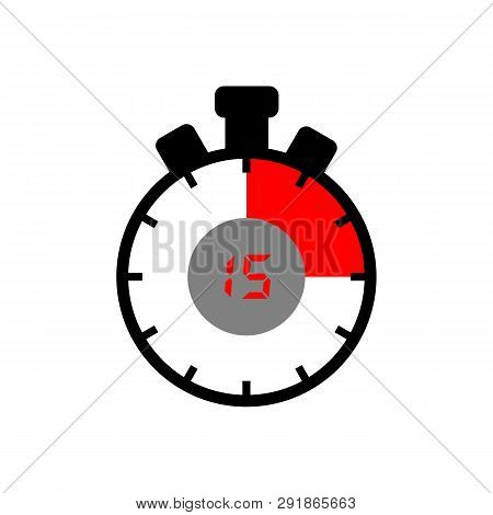 15-minute Icon Isolated With A White Background. Simple 15 Minute Sign Icon. The Black And Red Isola