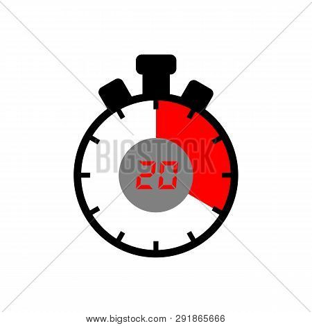 20 Minute Icon Isolated With A White Background. Simple 20 Minute Sign Icon. The Red-black Isolated