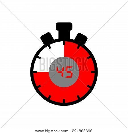45 Minute Icon Isolated With A White Background. Simple 45 Minute Sign Icon. The Red-black Isolated