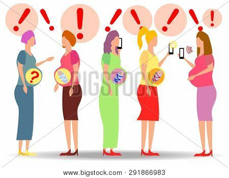 A Group Of Pregnant Women Looking For Answers In Smartphones. Question Answer, Online Doctor