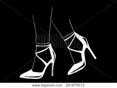 Vector Girls In High Heels. Fashion Illustration. Female Legs In Shoes. Cute Design. Trendy Picture