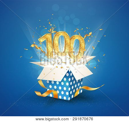 100 Th Years Anniversary And Open Gift Box With Explosions Confetti. Isolated Design Element. Templa