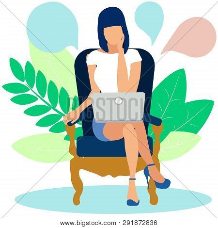 A Woman Ponders The Solution To The Problem Behind A Laptop. In Minimalist Style Cartoon Flat Vector